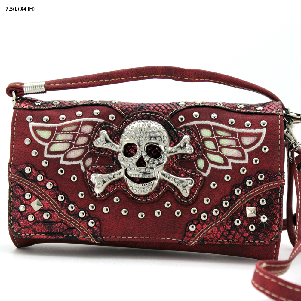 SK-2066-52SK-RED - SK-2066-52SK-RED WHOLESALE WESTERN WALLETS HIPSTER CROSS BODY STYLE