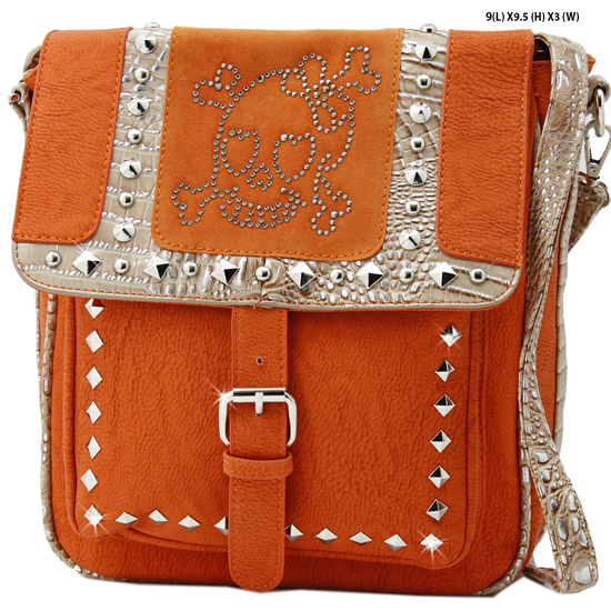 SKU-4910--ORANGE - DESIGNER INSPIRED SKULL MESSENGER STYLE BAGS