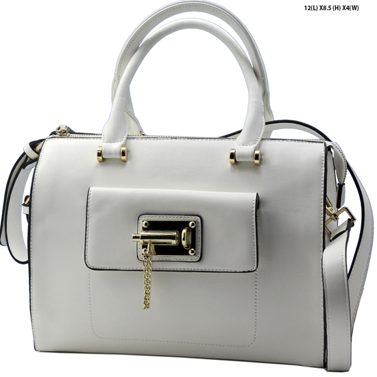 T1233-WHITE - NEW DESIGNER INSPIRED RUNWAY PURSES