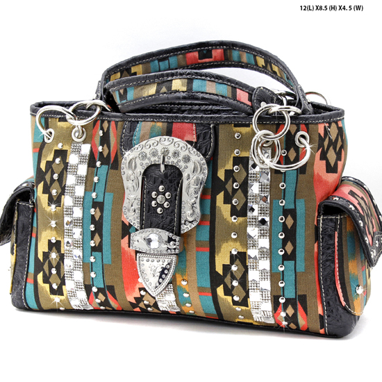 TBK-893-BROWN - WHOLESALE WESTERN BUCKLE AZTEC PRINT PURSES