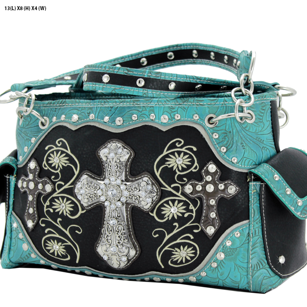 Rhinestone Cross Purses - TCR-93-BLACK Western Concealed Carry Weapon Faith Hope Love Purses