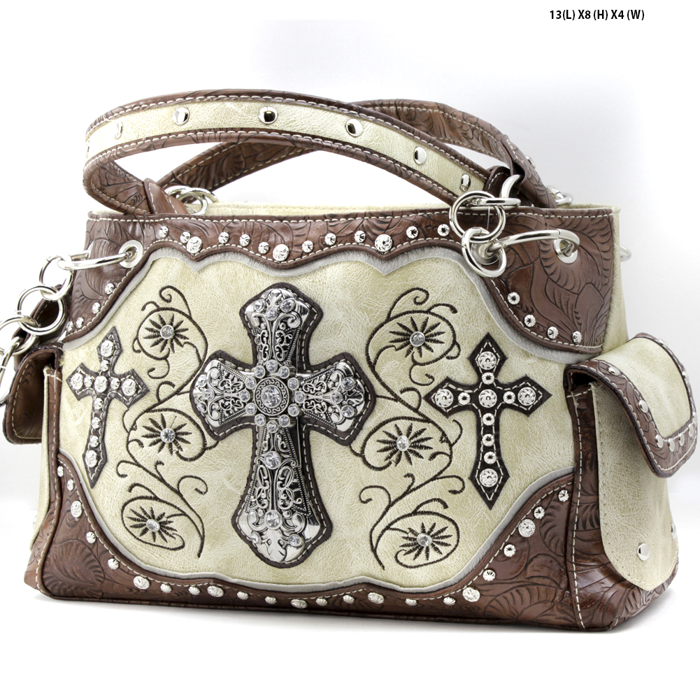 Rhinestone Cross Purses - TCR-93-BONE Western Concealed Carry Weapon Faith Hope Love Purses