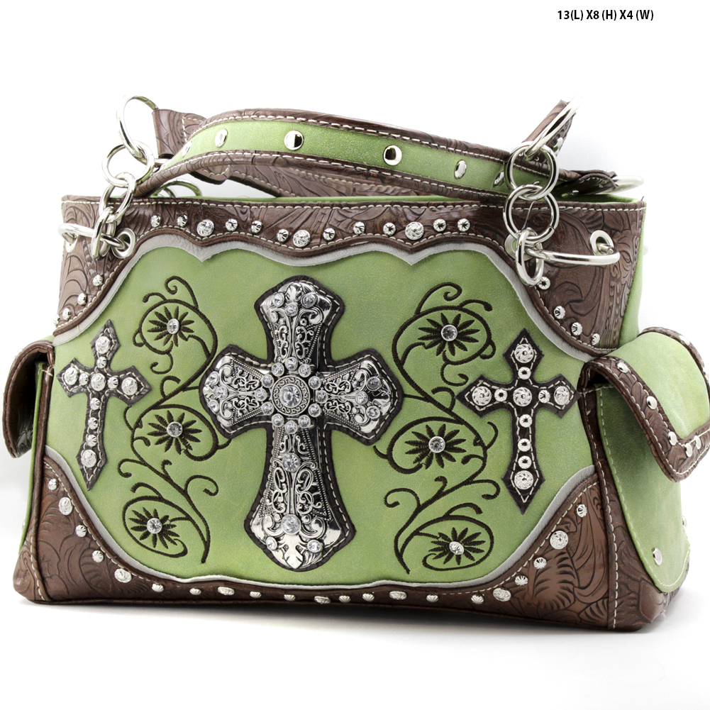 Rhinestone Cross Purses - TCR-93-GREEN Western Concealed Carry Weapon Faith Hope Love Purses