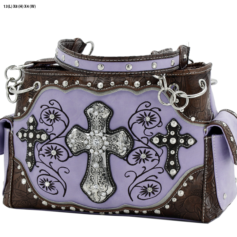 Rhinestone Cross Purses - TCR-93-PURPLE Western Concealed Carry Weapon Faith Hope Love Purses