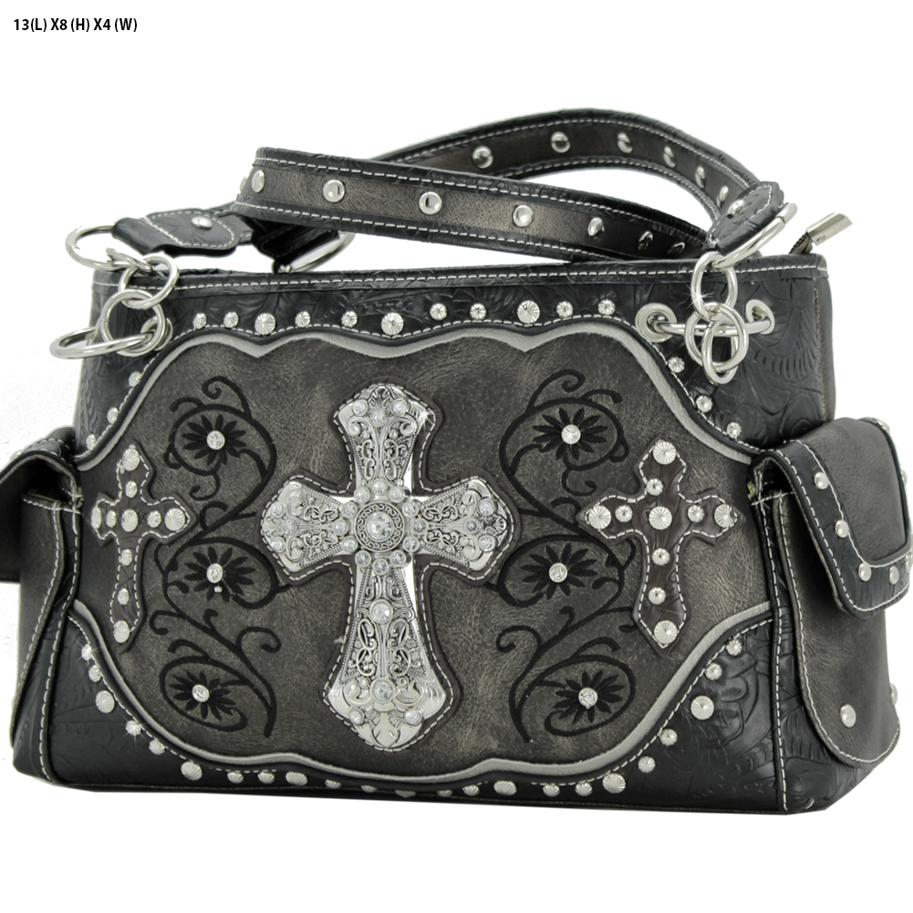 Rhinestone Cross Purses - TCR-93-PEWTER Western Concealed Carry Weapon Faith Hope Love Purses