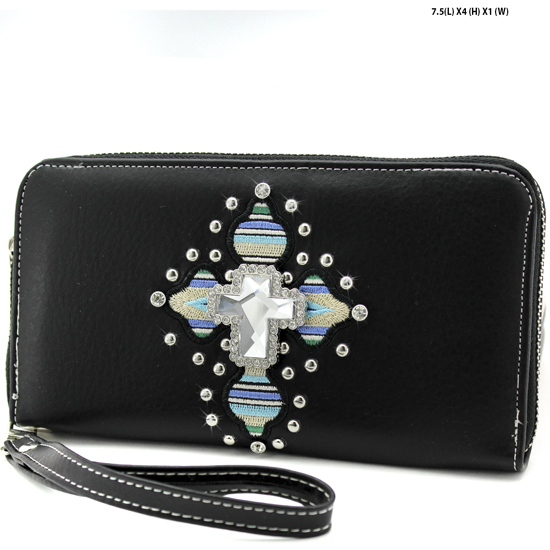 TEC-245-BLACK - WHOLESALE WOMENS WESTERN AZTEC PRINT CROSS WALLET