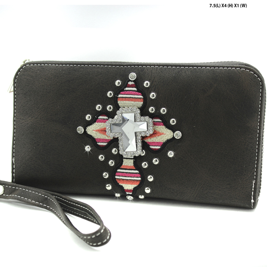 TEC-245-BROWN - WHOLESALE WOMENS WESTERN AZTEC PRINT CROSS WALLET