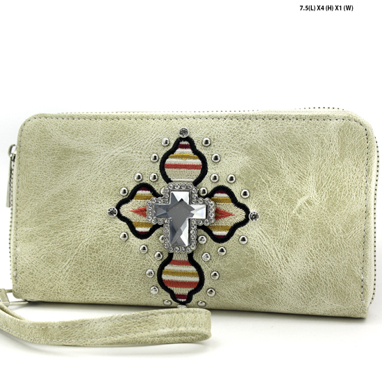 TEC-245-BONE - WHOLESALE WOMENS WESTERN AZTEC PRINT CROSS WALLET
