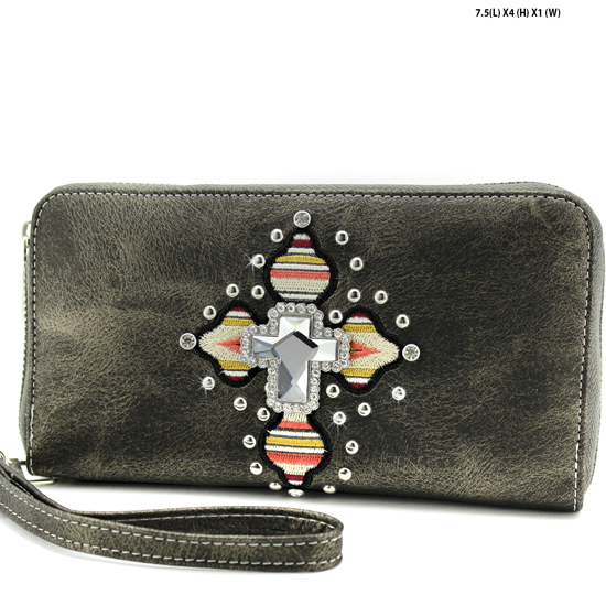 TEC-245-PEWTER - WHOLESALE WOMENS WESTERN AZTEC PRINT CROSS WALLET