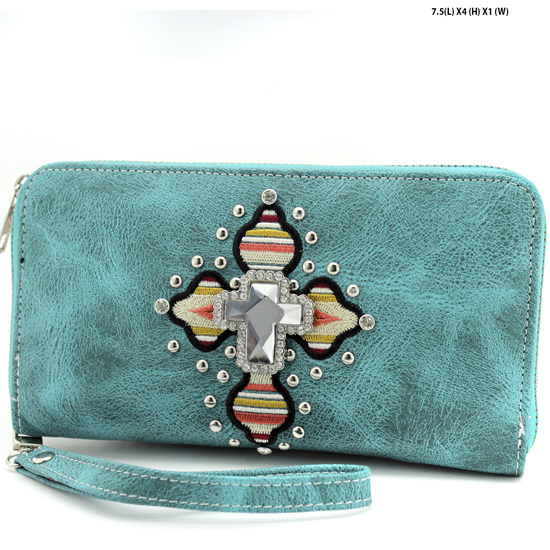 TEC-245-TURQ - WHOLESALE WOMENS WESTERN AZTEC PRINT CROSS WALLET