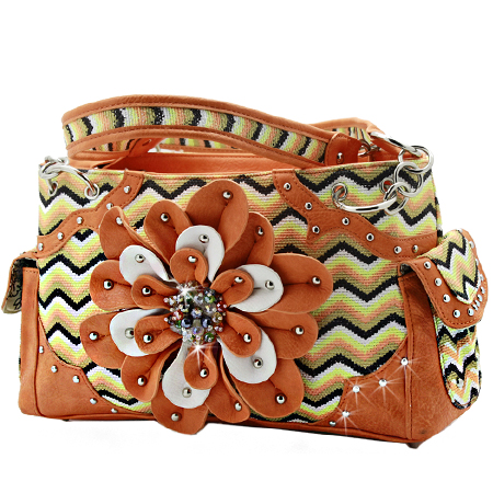 VZI-8469F-ORANGE - WHOLESALE CHEVRON PRINT RHINESTONE FLOWER HANDBAGS