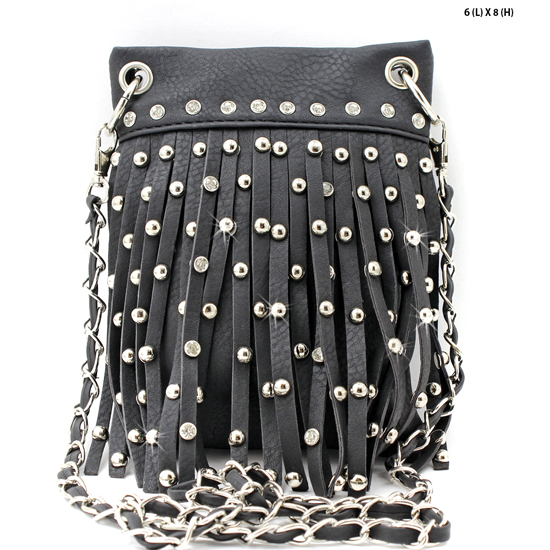 66918-2030-BLACK - WHOLESALE RHINESTONE FRINGE CELLPHONE CASES/POUCHES