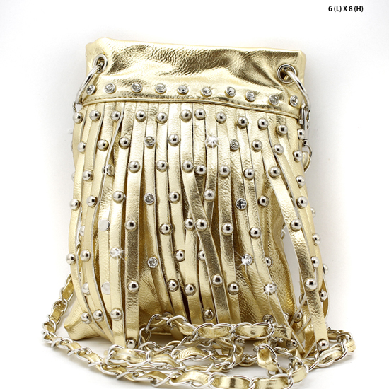 66918-2030-GOLD - WHOLESALE RHINESTONE FRINGE CELLPHONE CASES/POUCHES