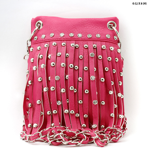 66918-2030-HT-PINK - WHOLESALE RHINESTONE FRINGE CELLPHONE CASES/POUCHES