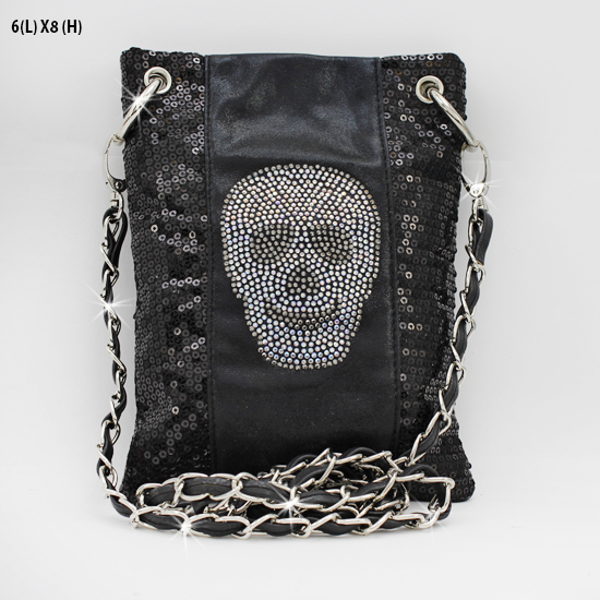 2030-NSQ-SKULL - WHOLESALE RHINESTONE CRYSTAL CELLPHONE CASES/POUCHES