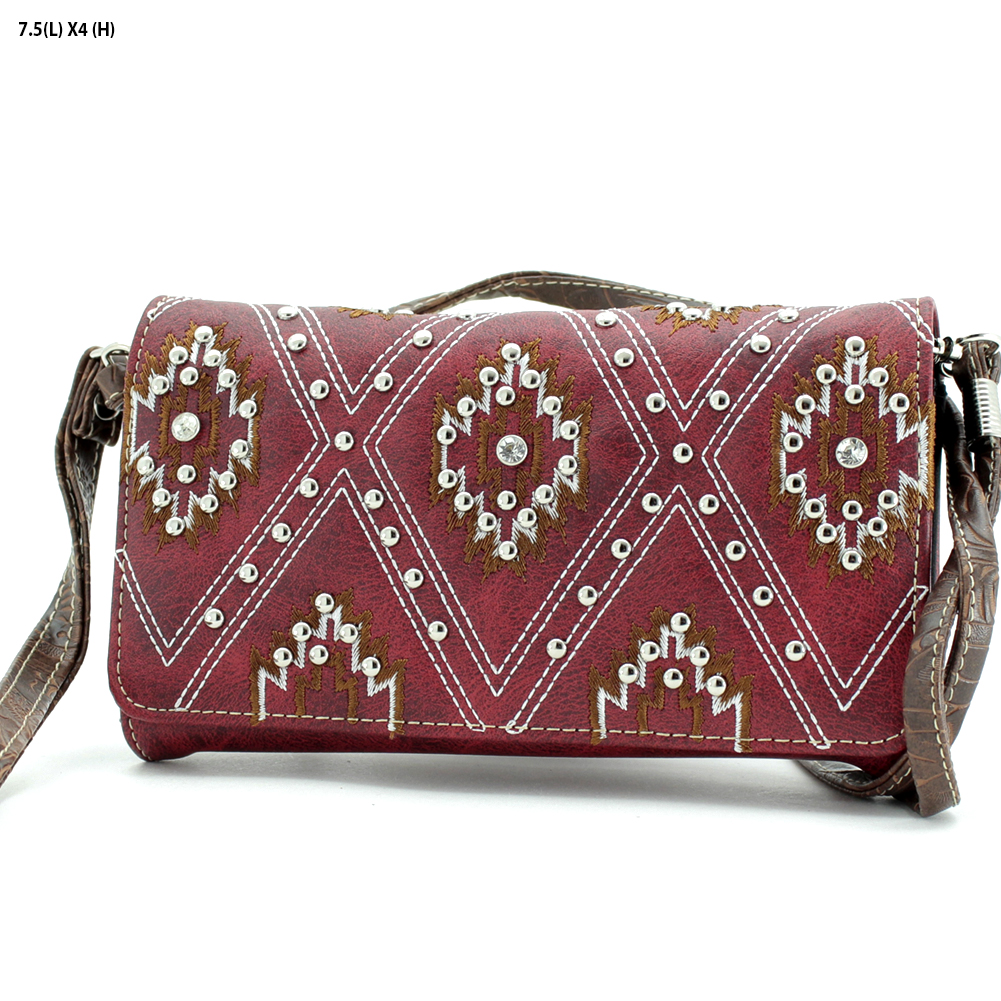 2066-SW-RED - 2066-SW-RED WHOLESALE WESTERN WALLETS HIPSTER CROSS BODY STYLE