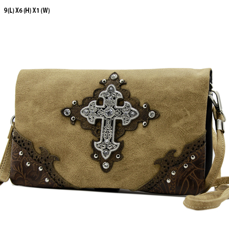 W2068-W39-LCR-TAN - WHOLESALE FLAT WALLETS/OPERA STYLE METAL FRAME