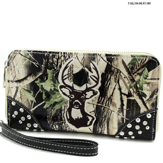 WHD-25-BK-BRN - WHOLESALE WOMENS CAMO DEER HEAD WALLET