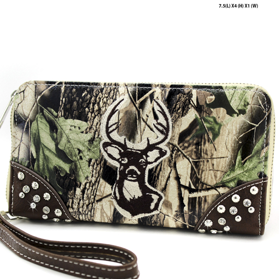 WHD-25-BRN-BRN - WHOLESALE WOMENS CAMO DEER HEAD WALLET