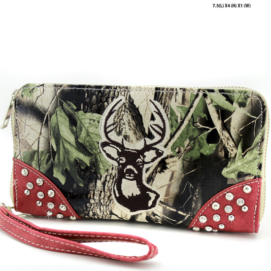 WHD-24-PK-BRN - WHOLESALE WOMENS CAMO DEER HEAD WALLET