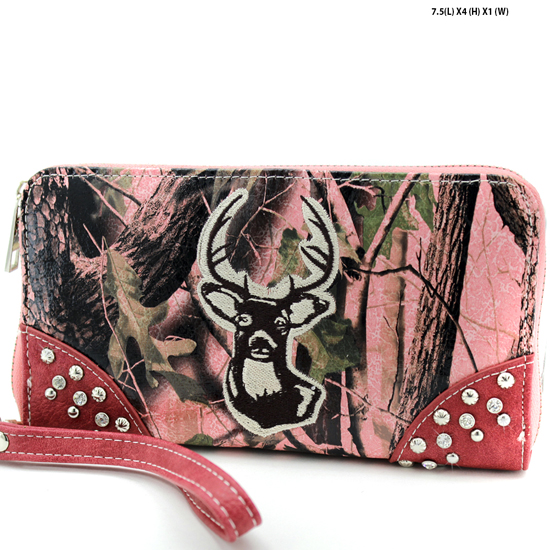 WHD-24-PK-PK - WHOLESALE WOMENS CAMO DEER HEAD WALLET