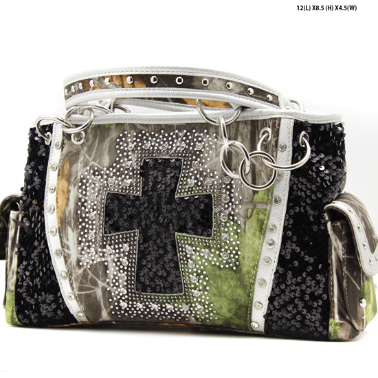 CAMO-QH-893-BLACK - WHOLESALE WESTERN CROSS CAMOUFLAGE CROSSS PURSES