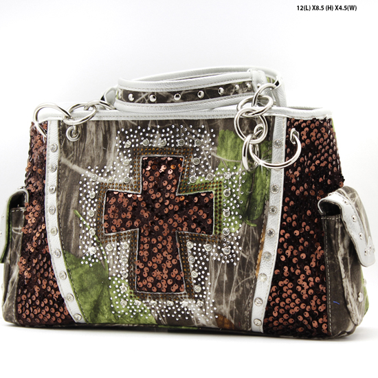 CAMO-QH-893-BROWN - WHOLESALE WESTERN CROSS CAMOUFLAGE CROSSS PURSES