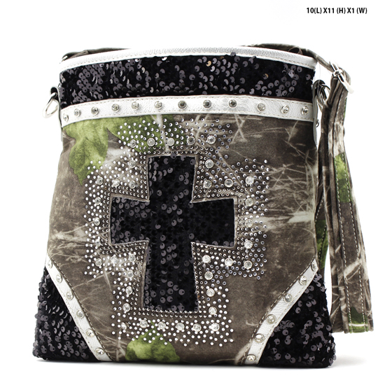 CAMO-QH-938-BLACK - WESTERN RHINESTONE STUDDED  CAMO CROSS MESSENGER HANDBAGS