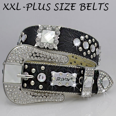 XXL-1050-BLACK - WHOLESALE RHINESTONE PLUS SIZE BELTS
