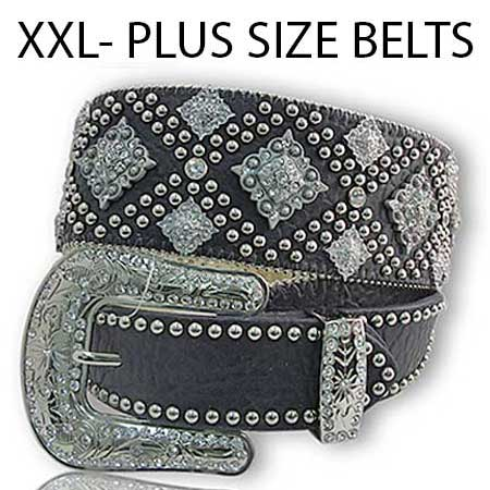 .XXL-1088-BLACK - WHOLESALE WESTERN RHINESTONE STUDDED BELTS