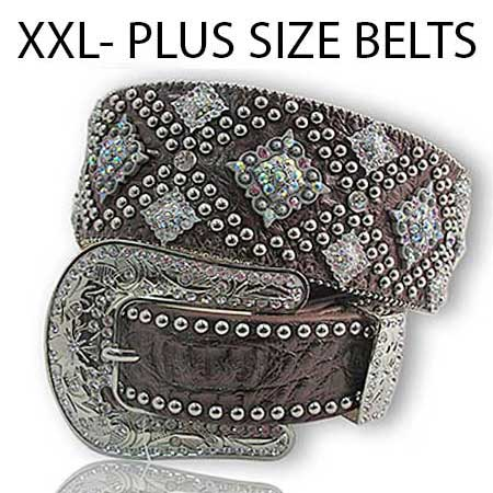 XXL-1088-BROWN - WHOLESALE WESTERN RHINESTONE STUDDED BELTS