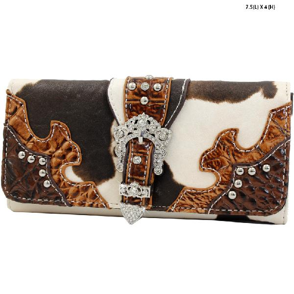 ACO4-030-BROWN - WHOLESALE WOMENS WESTERN BUCKLE WALLET