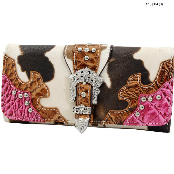ACO4-030-PINK - WHOLESALE WOMENS WESTERN BUCKLE WALLET