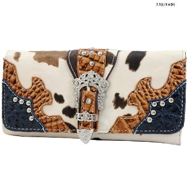 ACO4-030-NAVY - WHOLESALE WOMENS WESTERN BUCKLE WALLET