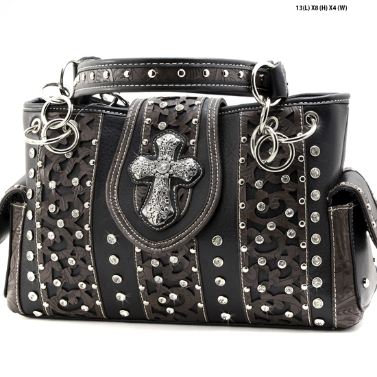 AK-893-BLACK - WHOLESALE WESTERN HAIR ON HIDE CROSS PURSES