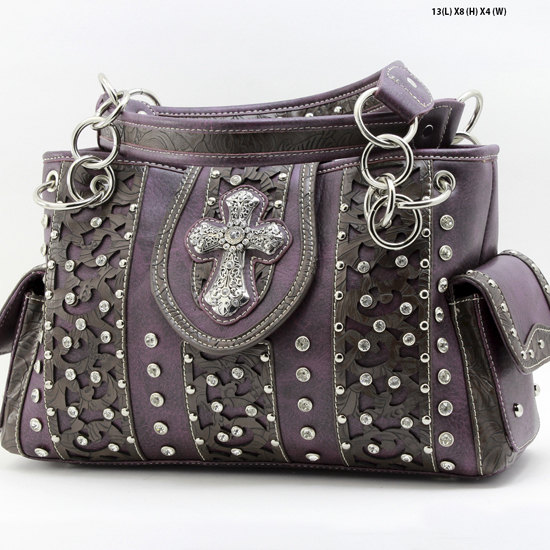 AK-893-PURPLE - WHOLESALE WESTERN HAIR ON HIDE CROSS PURSES