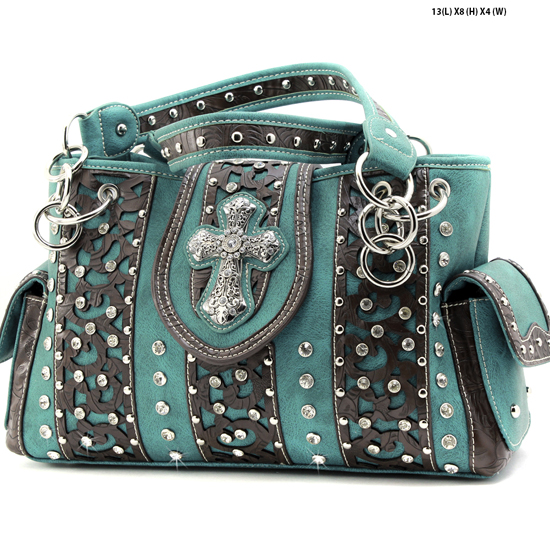 AK-893-TURQ - WHOLESALE WESTERN HAIR ON HIDE CROSS PURSES