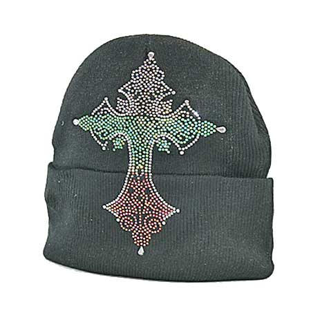 BEAN-CR-65 - WHOLESALE RHINESTONE STUDDED BEANIE CAPS/BEANIES