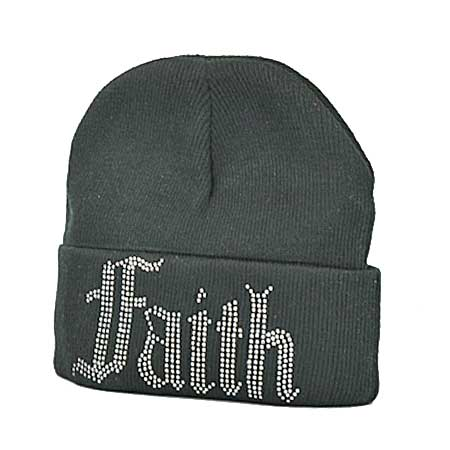 BEANIE-FAITH-BLACK - WHOLESALE RHINESTONED BEANIE CAPS