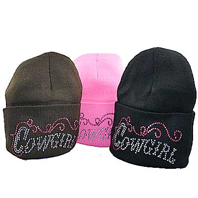 BEAN COWGIRL (12PCS) - WHOLESALE RHINESTONED BEANIES/CAPS