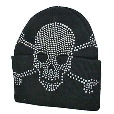 BEAN--SKULL-BLACK - WHOLESALE RHINESTONE BEANIES/CAPS