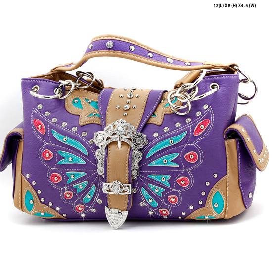 BFU3-846-PURPLE - WHOLESALE WESTERN RHINESTONE HANDBAGS