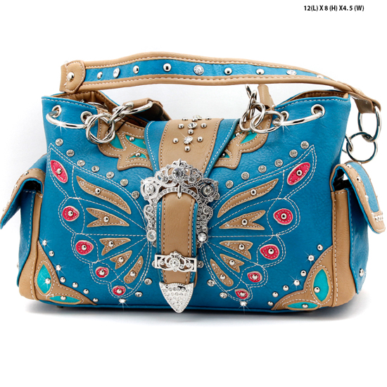 BFU3-846-BLUE - WHOLESALE WESTERN RHINESTONE HANDBAGS