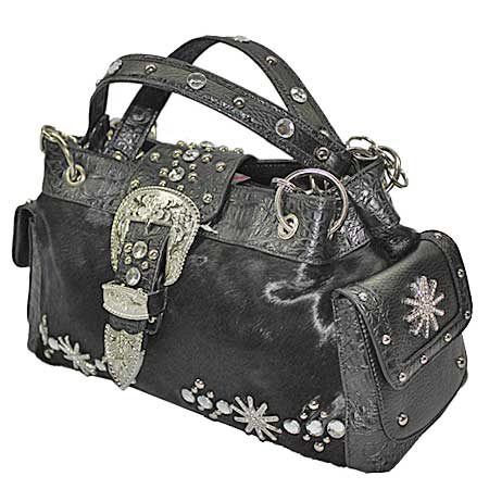 HIDECW97-BLACK - COWGIRL WEST BRAND HAIR ON HIDE HANDBAGS