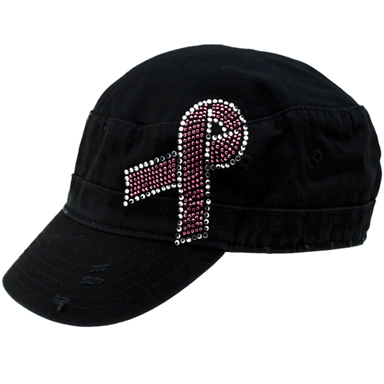 CAD-BC-BLACK - WHOLESALE RHINESTONE CADET CAPS/HATS