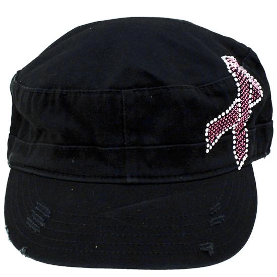 CAD-RIBBON-BLACK - CAD-RIBBON-BLACK WHOLESALE RHINESTONE CADET CAPS/HATS