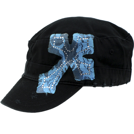 CAD-LACE-BK-BLUE - WHOLESALE RHINESTONE CADET CAPS/HATS