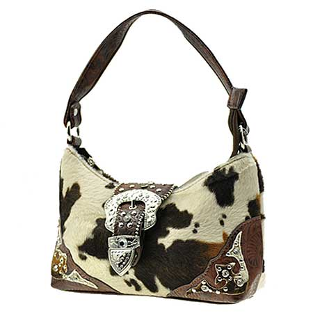 52-W10-COW-BROWN - KIDS RHINESTONE BUCKLE HANDBAGS