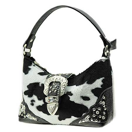 52W-10-COW-BK/WT - KIDS RHINESTONE BUCKLE HANDBAGS