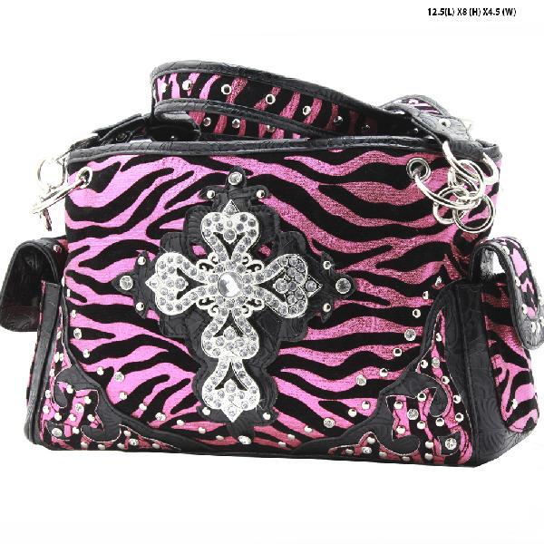 NEW-NFZ-LCR-133-HTPK - RHINESTONE CROSS HANDBAGS CONCEALED WEAPON PURSES